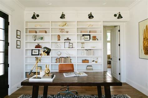Office Sconces Built In Bookcase With Swing Arm Sconces Cottage Den