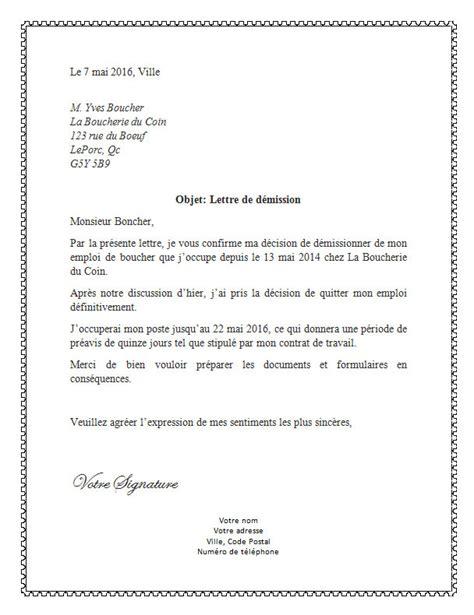 Exemple De Lettre Pour Quitter Travail Modele Lettre Demission Objet Document