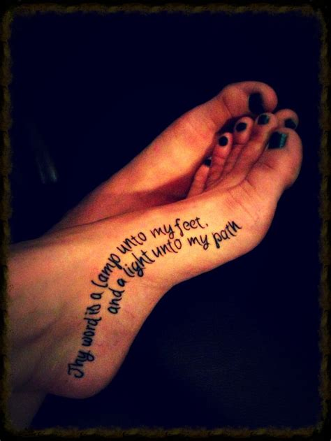 a l unto my feet foot tattoo quot thy word is a l unto my feet and a light