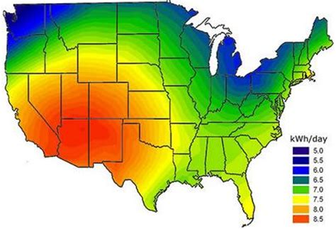 solar radiation map usa solar insolation reuk co uk
