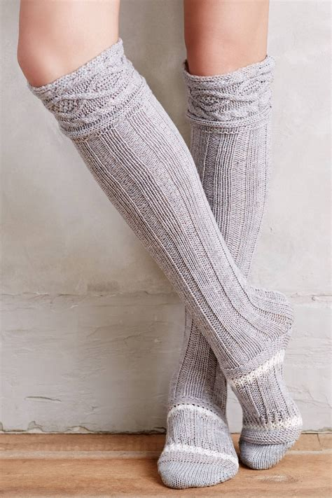 socks for boots anthropologie cabled the knee boot socks in gray lyst
