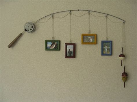 fishing pole picture frame lake house decor