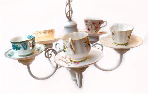 Teacup Chandelier Diy Handmade Teacup Chandelier Using Repurposed Light Fixture And