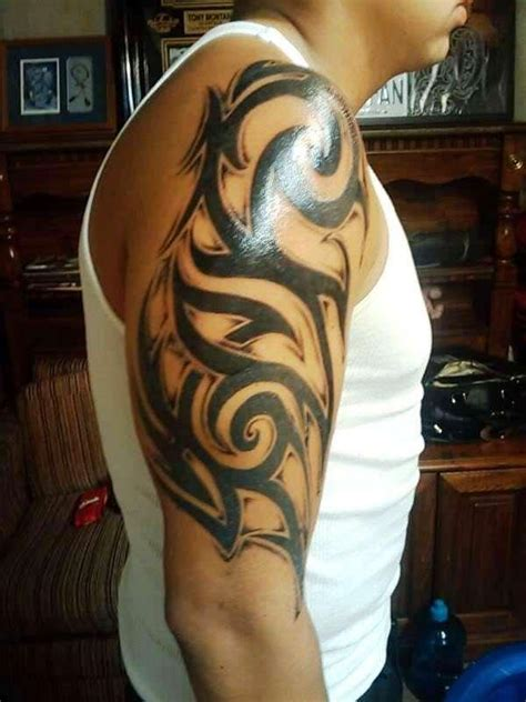 three quarter sleeve tattoo gallery 30 best tribal tattoo designs for mens arm quarter