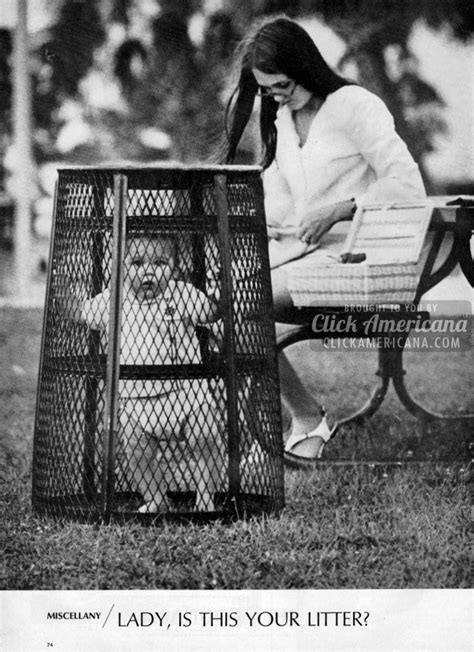 """""""Lady, is this your litter?"""" The park baby cage (1969"""