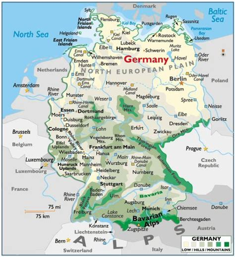 germany physical map physical map of germany