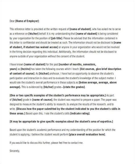 academic reference letter templates word