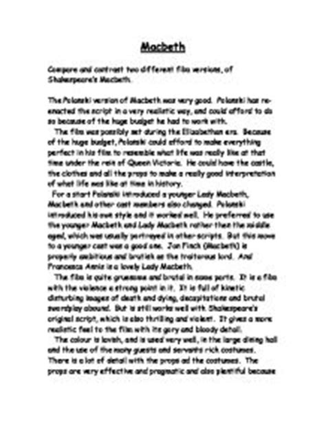 Macbeth Comparison Essay by Compare And Contrast Two Different Versions Of Shakespeare S Macbeth Gcse