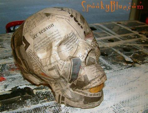 diy paper mache skull tutorial http www spookyblue