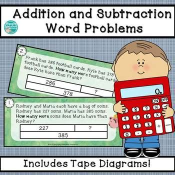 diagram subtraction word problems addition and subtraction word problems using diagrams tpt