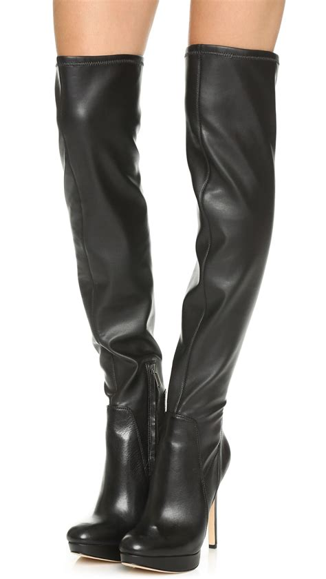 sam edelman the knee boots sam edelman stretch the knee boots in black lyst