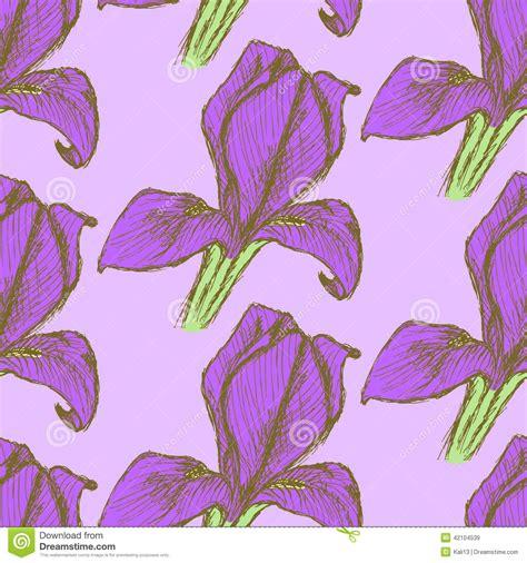vintage pattern sketch sketch iris vintage seamless pattern stock illustration