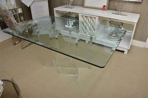 beveled glass top dining table with attractive lucite base