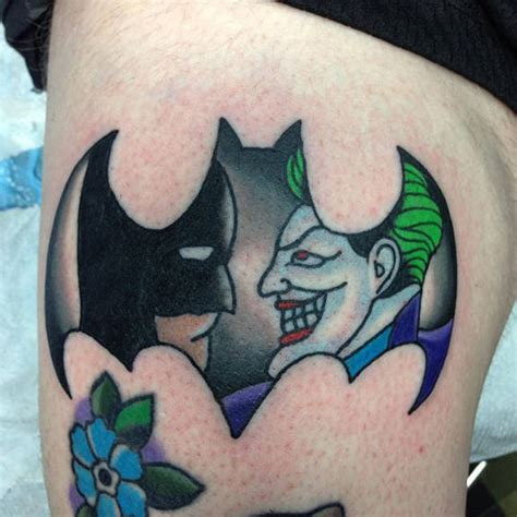 batman vs joker tattoo by joe bastek