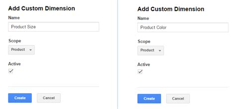 product size using custom dimensions enhanced ecommerce to identify
