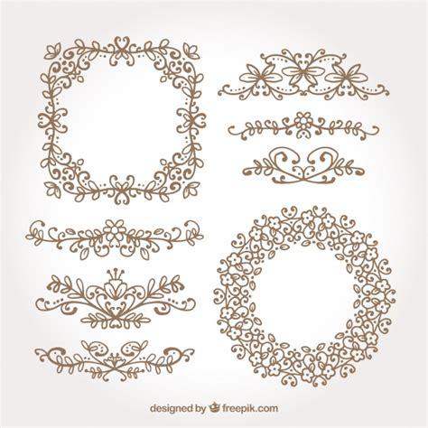 cornici e bordi confezione di cornici e bordi floreali disegnati a mano