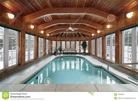 swimming pool  wood ceiling beams stock image image