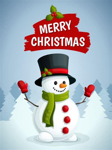 merry christmas greeting card  snowman illustration vector