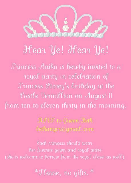 princess party invitation wording  years  lego