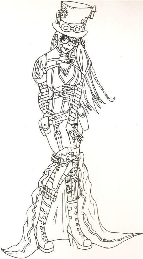 steampunk oc lineart  bloodstainedtragedy steampunk