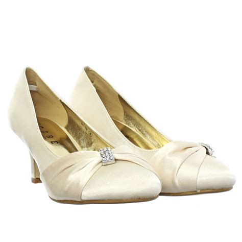 Wedding Shoes Ivory Low Heel by Womens Low Kitten Heel Bridal Wedding Ivory Satin Diamante