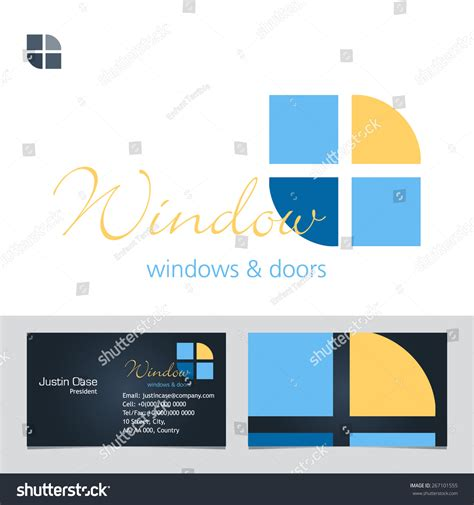 windows doors business sign business card vector