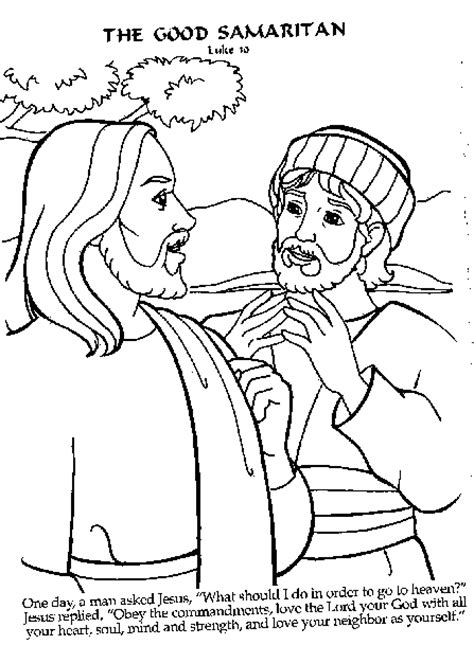 coloring pages for the good samaritan story a lawyer approaches jesus to ask him about eternal life
