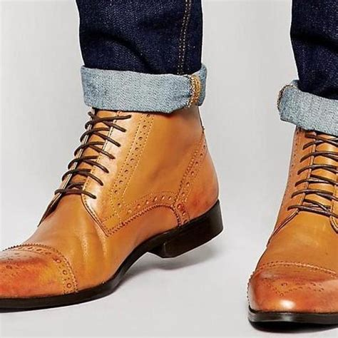 Handmade Mens Leather Boots - handmade leather side zipper boots mens genuine
