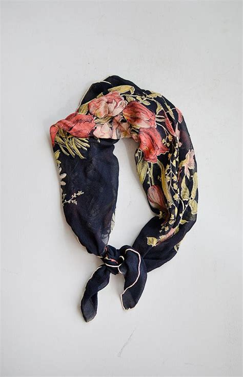 Beautiful Things From Vintage Scarves by Vintage 1950s Navy Silk Floral Bouquet Print Scarf Click