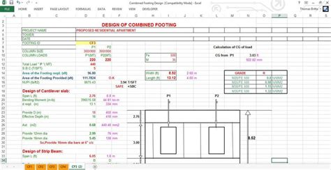 combined footing design free xls design of combined footing pdf spreadsheet download