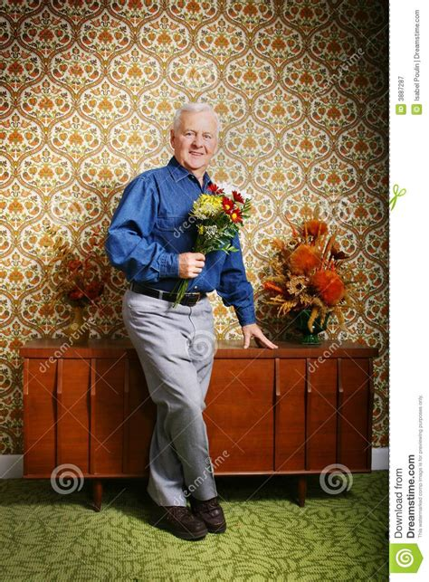 elderly man with flowers stock image image of attractive