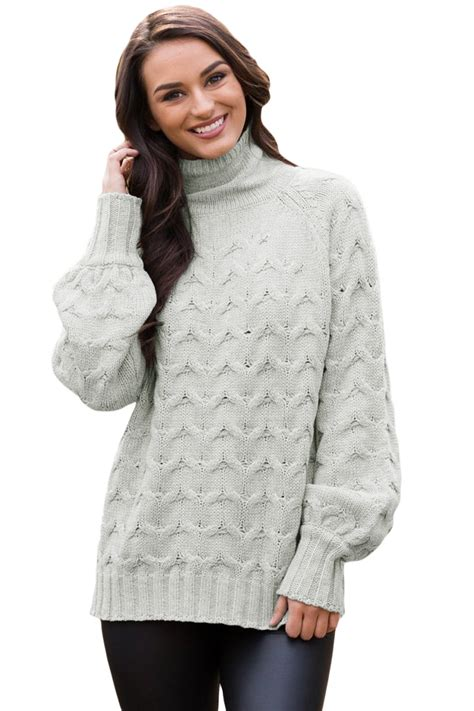Cable Knit High Neck Sweater us 12 63 grey cable knit high neck sweater for