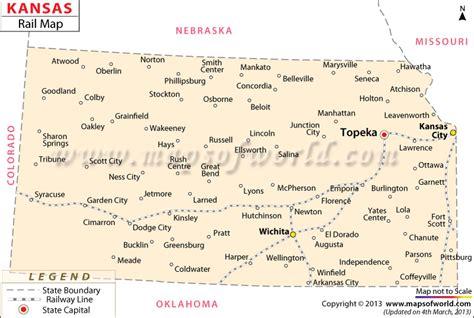 kansas usa map kansas rail map all routes in kansas