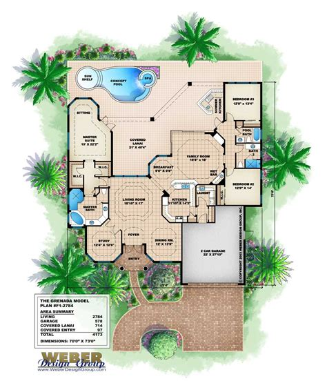 florida home designs floor plans florida style floor plan 3 bedrms 3 baths 2784 sq ft