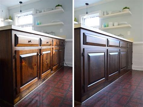 How To Stain A Kitchen Cabinet How To Stain Cabinets A Darker Less Orangey Color Used Minwax Polyshades Stain In Tudor Satin