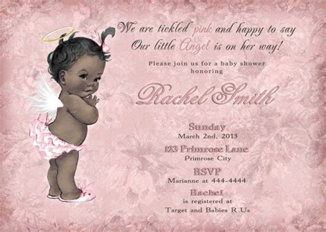 printable angel thank you cards pink floral african american little angel girl baby shower