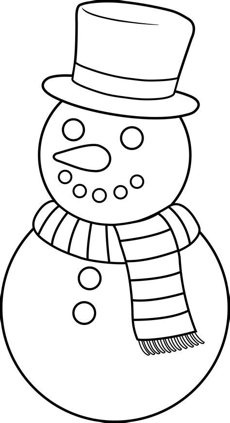 christmas picture outline colorable snowman free clip