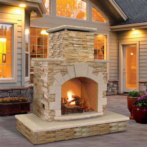 fireplace backyard calflame natural stone propane gas outdoor fireplace ebay