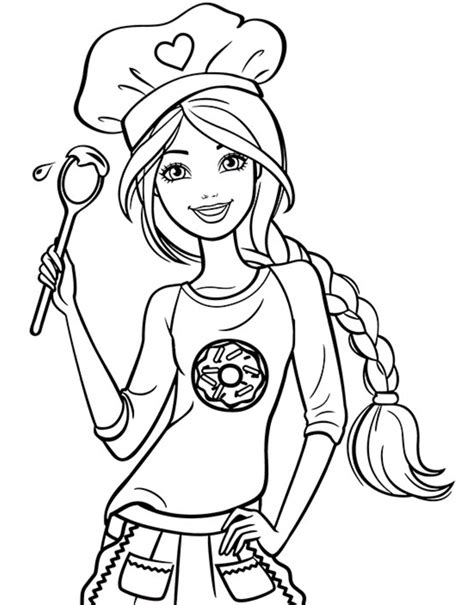 chef barbie coloring page coloring pages beach