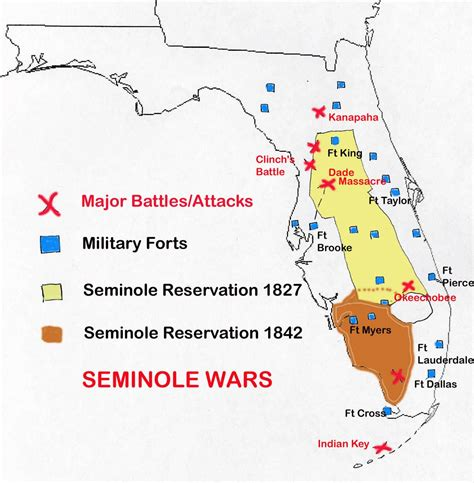 The Seminole Indians Of Florida Genealogy Trails Happy | map of seminole wars in florida family tree pinterest