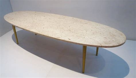 mid century modern marble and brass large oval coffee