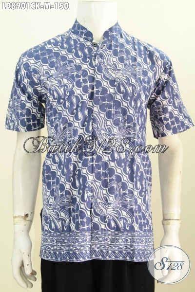 Baju Batik Muslim Biru batik hem halus warna biru motif klasik model kerah