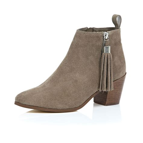 river island beige suede tassel heeled ankle boots in