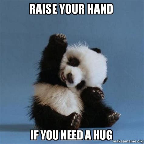 Hug Meme - raise your hand if you need a hug make a meme