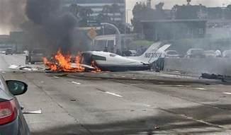 2 hospitalized after fiery plane crash on calif freeway