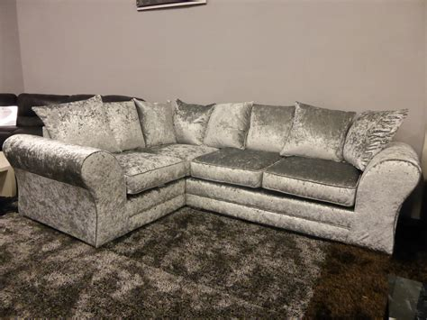 crushed velvet sofas boleyn high quality grey silver crushed velvet corner sofa