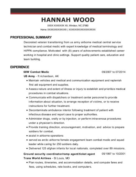 68w Resume by Us Army 68w Combat Medic Resume Sle