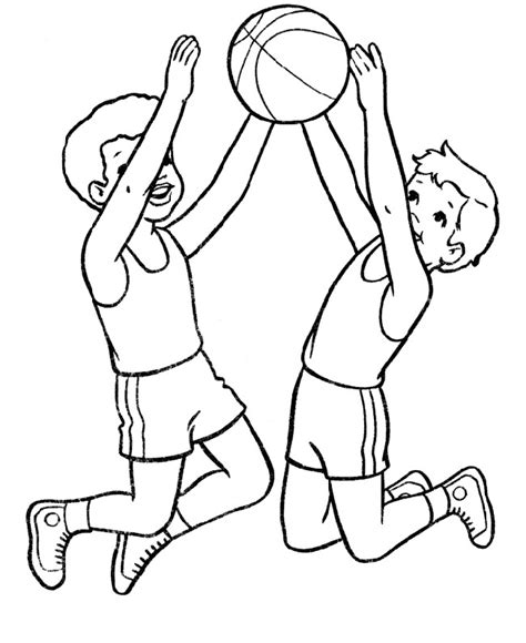 coloring page of boy playing basketball two boys jump in the air basketball coloring page two