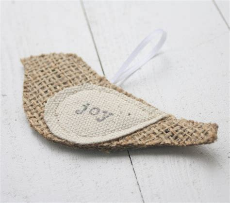 christmas ornament burlap bird joy