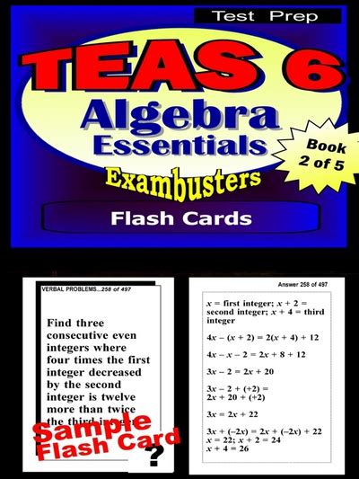 praxis test prep algebra review exambusters flash cards workbook 7 of 8 praxis study guide exambusters praxis books teas v test prep algebra review exambusters flash cards